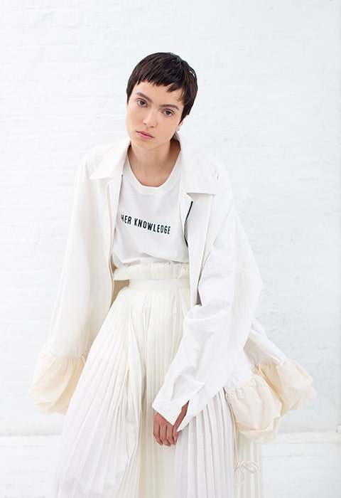 Parchment canvas petal jacket, Ivory statement t-shirt, ivory pleated skirt