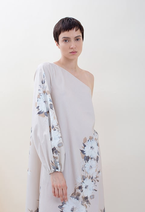 Nude and white hand-painted floral one shoulder dress