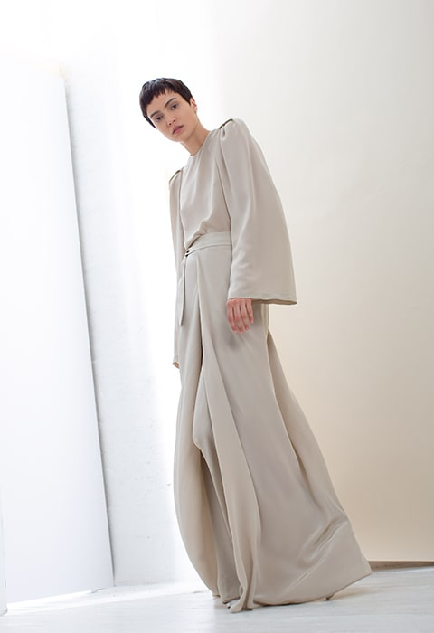 Taupe silk tunic, taupe silk wrap pant