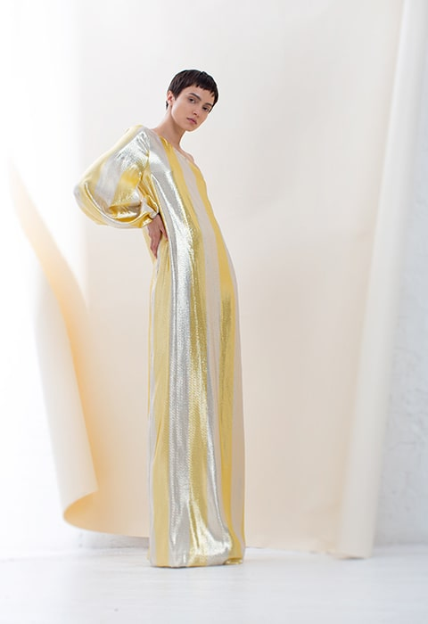 Yellow and white gold stripe one shoulder dress
